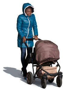 african woman pushing a stroller