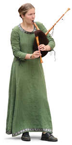 woman in a medieval dress playing bagpipe