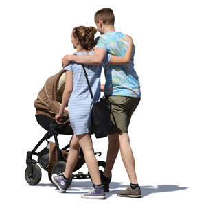 couple walking with a baby carriage