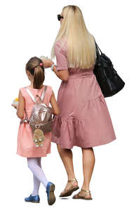 mother and daughter in pink dresses walking