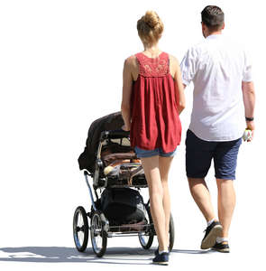 man and woman walking with a baby carriage