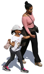 black mother and daughter walking and holding hands seen from above