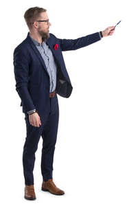 businessman standing and pointing