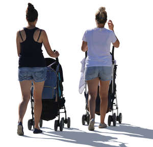 two backlit women with baby carriages walking