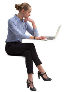businesswoman sitting and working with computer