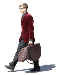teenage boy carrying a french horn case