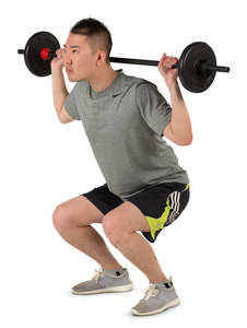 asian man doing squats with a weights