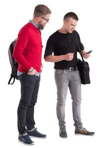 two men standing and looking smth in a phone