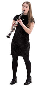 young woman playing clarinet
