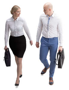 two office workers walking seen from above