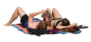 couple sunbathing
