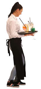 waitress carrying a tray with cocktails