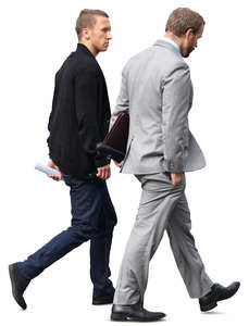 two businessmen walking side by side