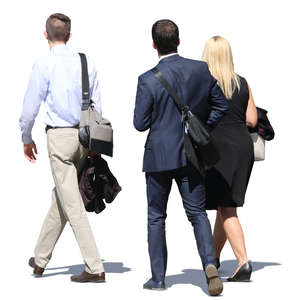 group of businessmen and businesswoman walking