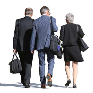 group of three businesspeople walking