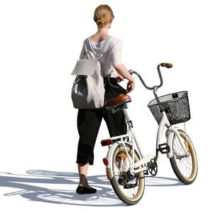 woman in summer clothing walking and pushing a bike