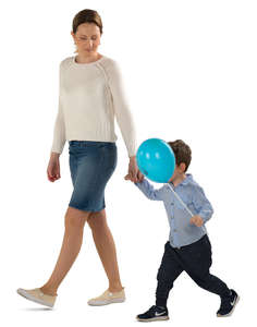 mother walking with his son who has a balloon