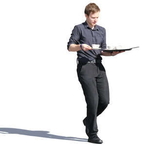 waiter carrying coffee cups