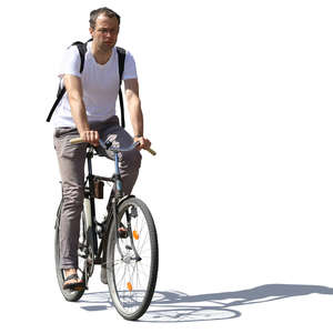 man with a backpack riding a bicycle