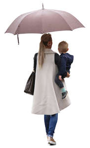 woman with an umbrella holding her son