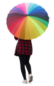 woman with a colorful umbrella walking