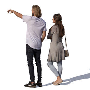man and woman standing and pointing at smth