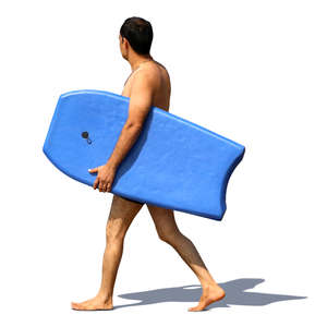 man carrying a boogie board on the beach