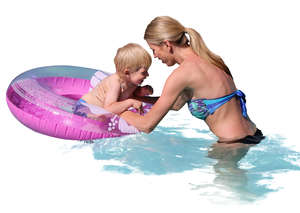 mother and son playing in the water