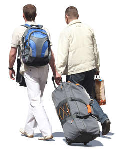 two travelling men walking