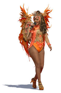 samba queen in a colorful costume performing
