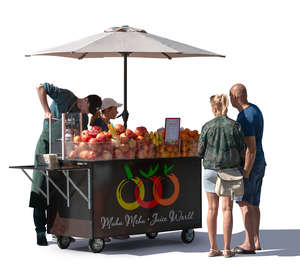 cut out fruit stand with customers