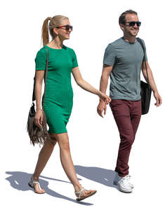 man and woman walking and talking happily