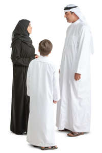 arab family standing and talking