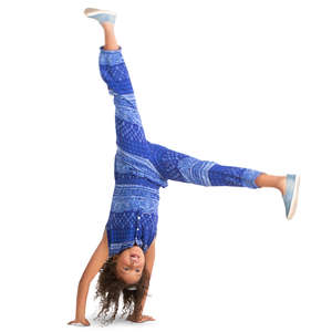 little girl doing a cartwheel
