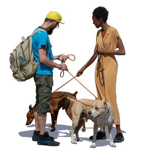 man and woman with dogs standing and talking