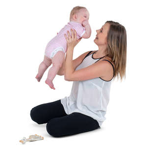 woman playing with her baby daughter