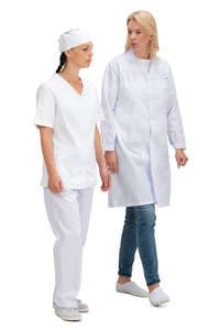 two medical workers walking and talking