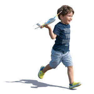 boy with a toy plane running