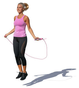 woman jumping with a jump rope