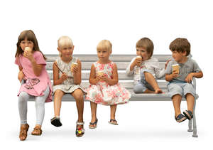 five kids sitting on a bench and eating ice cream