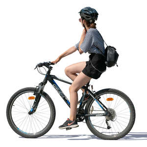 woman with a helmet riding a bike