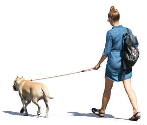 woman in a denim dress walking a dog