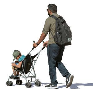 father pushing his son in a stroller