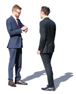 two young businessmen talking