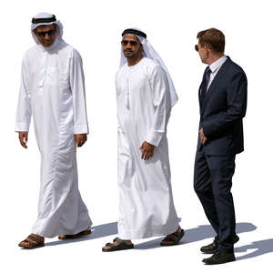 two arab men talking with an european businessman