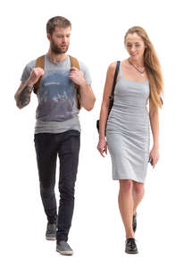 man and woman walking and talking