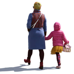 mother and daughter in colorful outfits walking and holding hands