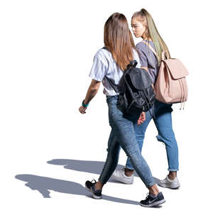 two teenage girls walking and talking