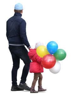 father walking hand in hand with his daughter who has many balloons