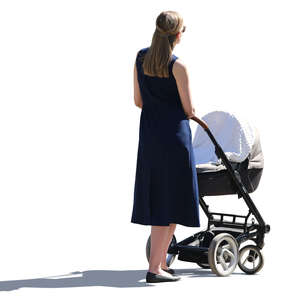 backlit woman with a baby carriage